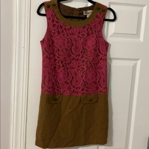 Lace wool shift dress vintage look small retro MOD